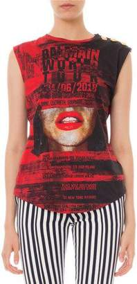 Balmain Sleeveless World-Tour Graphic Tee