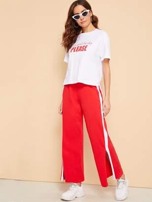 Shein Step Hem Slogan Top & Split Wide Leg Sweatpants Set