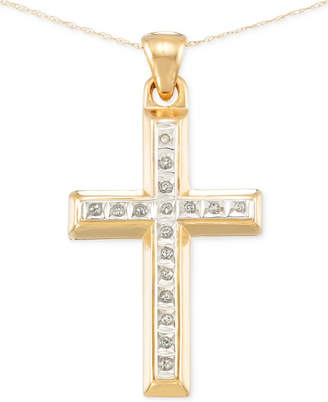 Signature Diamonds Cross Pendant Necklace in 14k Gold over Resin Core Diamond and Crystallized Diamond Dust