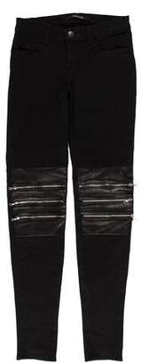 J Brand Low-Rise Leather-Accented Jeans