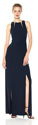 Halston Women's Sleeveless Round Neck Gown with Sheer Inserts