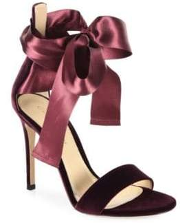 Gianvito Rossi Velvet Satin Bow Sandals