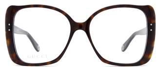 Gucci Tortoiseshell Butterfly Frame Acetate Glasses - Womens - Tortoiseshell