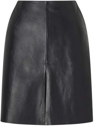 Jigsaw Mini Pleat Front Leather Skirt