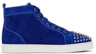 Christian Louboutin Lou Spike Embellished Suede High Top Trainers - Mens - Blue