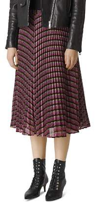 Whistles Pleated Sparkle-Stripe Skirt