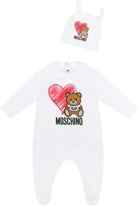 Moschino Kids Stretch cotton onesie and hat set