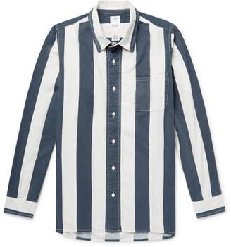 Visvim Striped Cotton-Twill Shirt - Men - Navy