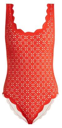Marysia Swim Palm Springs Scallop Edged Swimsuit - Womens - Red Multi
