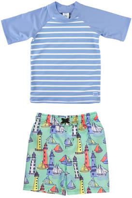 RuffleButts Boy's Striped Rash Guard w/ Lighthouse Swim Trunks, Size 3M-5