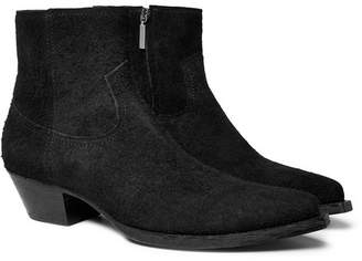 Saint Laurent Lucas Brushed-Suede Boots - Black