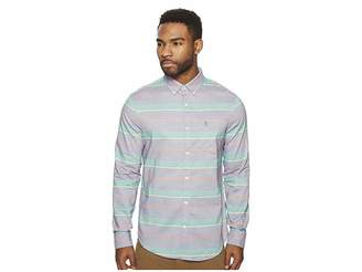 Original Penguin Long Sleeve Stripe w/ Stretch Chambray Shirt Men's Long Sleeve Button Up