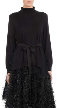 Simone Rocha Mock-Neck Side-Slit Knit Tunic w/ Tie-Waist