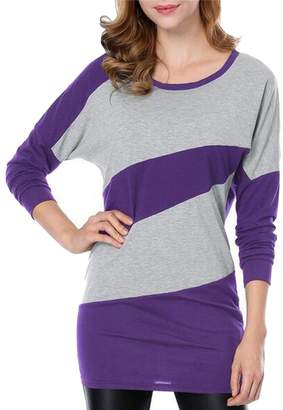 Etecredpow Women's Slimming Color Block Knitted Long Sleeve Crewneck Dress