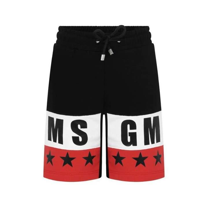 MSGMBoys Black & Red Bermuda Shorts