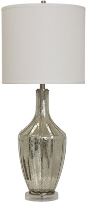 Stylecraft Style Craft 37In Mercury Glass & Brushed Steel Base Table Lamp