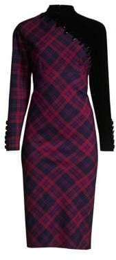 Marc Jacobs Women's Check-Print Embroidered Wool Sheath Dress - Fuchsia Multi - Size 2