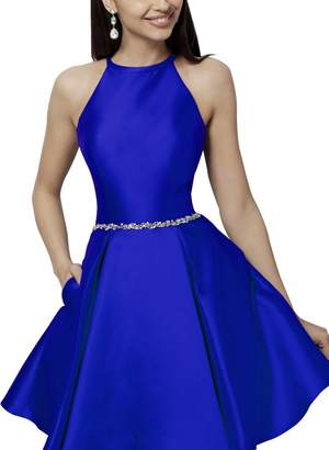 Homecy Halter Homecoming Dresses with Pocket Beaded Satin Short Prom Dresses for Junior