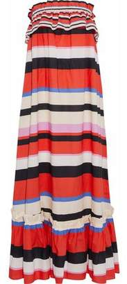 Nicholas Amalfi Strapless Striped Cotton-Poplin Maxi Dress