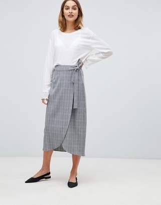 Gestuz Danielle check wrap midi skirt