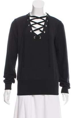 L'Agence Lace-Up Long Sleeve Sweatshirt