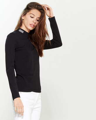 Versace Black & White Long Sleeve Mock Neck Sweater