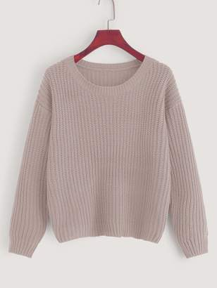 Shein Drop Shoulder Waffle Knit Sweater