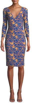 Chiara Boni Manisha V-Neck 3/4-Sleeve Printed Dress