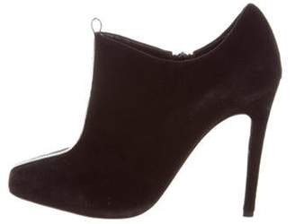 Jerome C. Rousseau Suede Square-Toe Booties Black Suede Square-Toe Booties