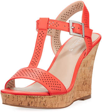... Charles by Charles David Law Laser-Cut Leather Wedge Sandal, Coral