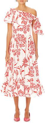 Carolina Herrera Asymmetric Floral-Print Cotton Dress w/ Knot Detail