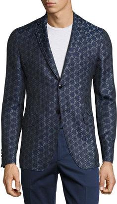Etro Geometric Jacquard Sport Jacket, Blue $1,315 thestylecure.com
