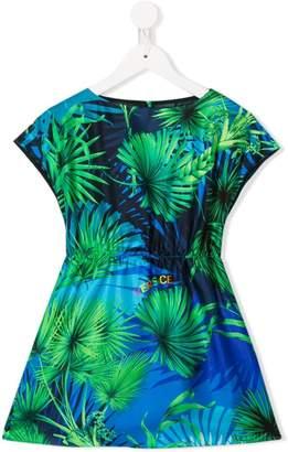 Versace leaf print short dress