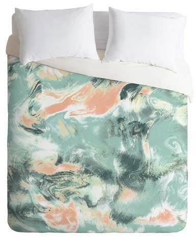 Green Jacqueline Maldonado Marble Mist Duvet Cover