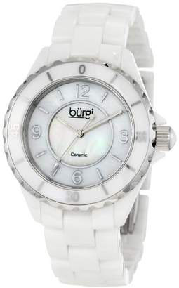 Burgi Women's BU57WT Two-Tone Ceramic Watch with Link Bracelet