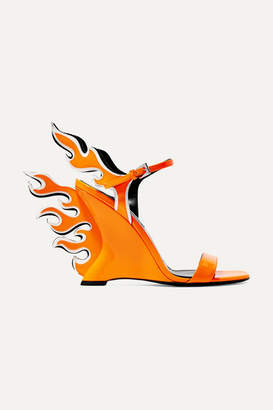 Prada Neon Patent-leather Wedge Sandals - Bright orange