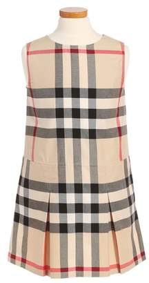 Burberry Dawny Check Print Sleeveless Dress