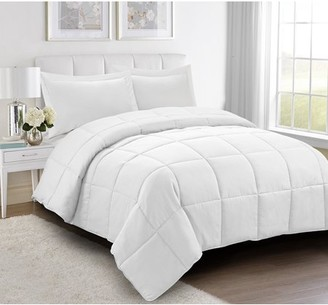 HIG All Season Down Alternative Comforter Set- 2pc Box Stitched Reversible Comforter with One Sham -Quilted Duvet Insert with Corner Tabs - Hypoallergenic, Supersoft, Wrinkle Resistant -White Twin Size