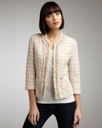 Neiman Marcus Bead-Trim Tweed Jacket