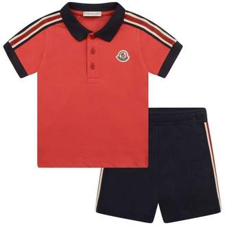 Moncler MonclerBaby Boys Red Polo Top & Navy Shorts Set