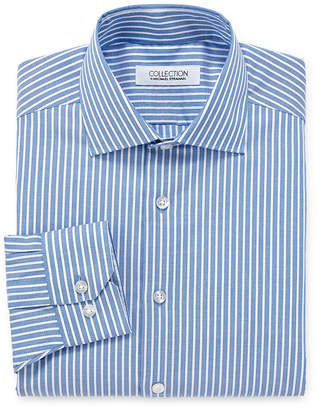 COLLECTION Collection by Michael Strahan Wrinkle Free Cotton Stretch Big And Tall Long Sleeve Woven Stripe Dress Shirt