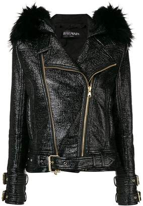 Balmain zipped up biker jacket