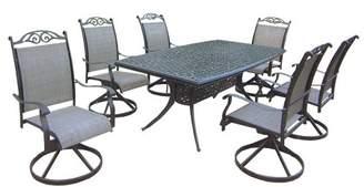 Oakland Living Cascade 7-Piece Aluminum/Sling Swivel Rectangular Patio Dining Furniture Set