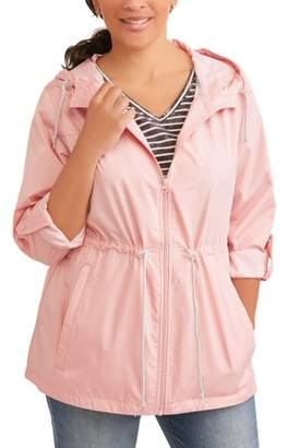 Weathertamer WEATHER TAMER Women's Plus-Size Hooded Packable Anorak--Zips Up Into A Small Pouch