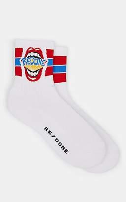 RE/DONE Men's Logo Cotton Ankle Socks - White