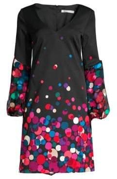 Trina Turk Women's Winterluxe Bubbly Peasant Sleeve Graphic Shift Dress - Size 0