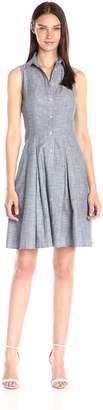 London Times Women's Button Up Full Skirt Shirt Dress