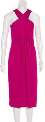 Michael Kors Ruched Sleeveless Midi Dress