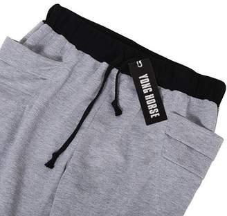 GlowSol Men's Elastic Force Elastic Waist Pocket Casual Pants Black S Color:light gray Size:Asia XL
