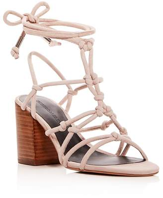 Rebecca Minkoff Women's Carmela Knotted Suede Ankle Tie Block Heel Sandals